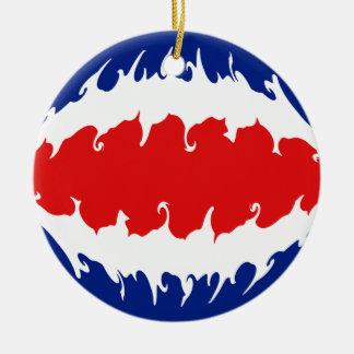 Costa Rica Gnarly flagga Rund Julgransprydnad I Keramik