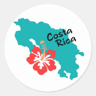 Costa Rica karta med hibiskus Runt Klistermärke