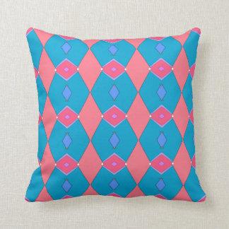 Coussin décoratif, bleu céruléen et rose, Losanges Kudde