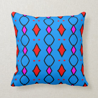 Coussin décoratif coloré, bleu brillant à losanges kudde