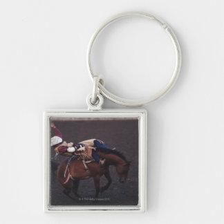 Cowboy i en Rodeo 2 Fyrkantig Silverfärgad Nyckelring
