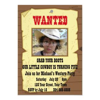 Cowboy önskad affischfödelsedagsfest anpassade inbjudan