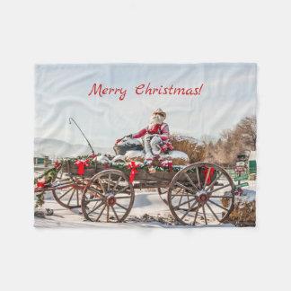 Cowboy Santa - vagn med höbaler Fleecefilt