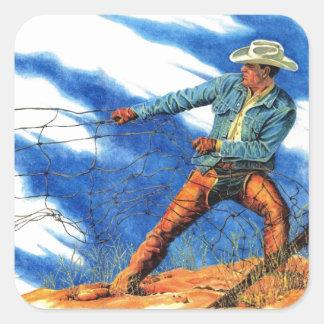 cowboy som lagar ett staket fyrkantigt klistermärke