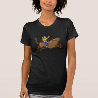 Cowboy som rider tjurkvinna T-tröja T Shirts