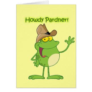 Cowboygroda som vinkar Howdy Hälsningskort
