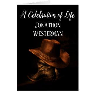 Cowboykänga- och hattfirande av liv hälsningskort