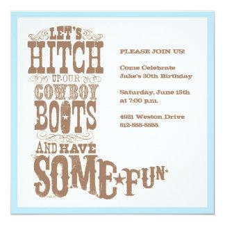 Cowboykängainbjudan Fyrkantigt 13,3 Cm Inbjudningskort