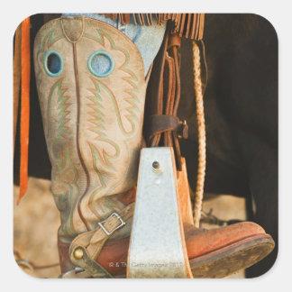 Cowboykängor Fyrkantigt Klistermärke