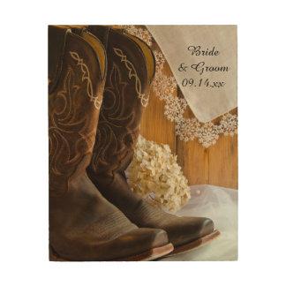 Cowboykängor och snörelandsbyggsbröllopTrätavla Trätavla