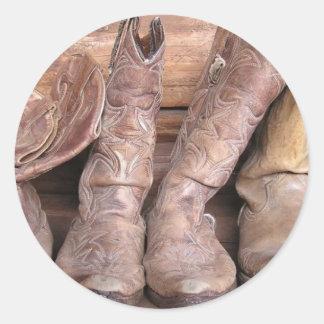 Cowboykängor Runt Klistermärke