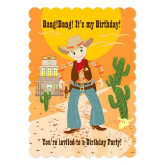 Cowboyungefödelsedagsfest 12,7 X 17,8 Cm Inbjudningskort
