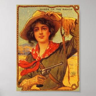 """Cowgirl """"drottning vintage affisch av för ranchen"""""""