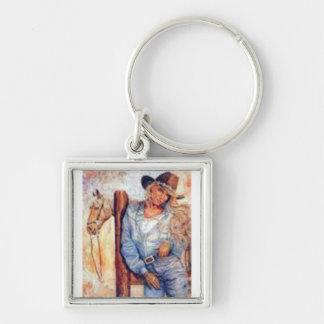 Cowgirl Fyrkantig Silverfärgad Nyckelring