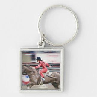Cowgirl i rodeoen fyrkantig silverfärgad nyckelring