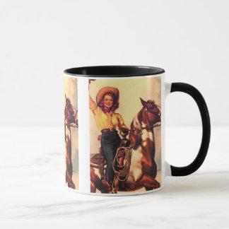 Cowgirl på henne häst mugg
