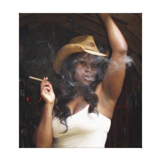 cowgirl som röker bilden canvastryck