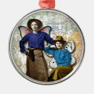 Cowgirlälvor, förändrade konstvintagecowgirls julgransprydnad metall