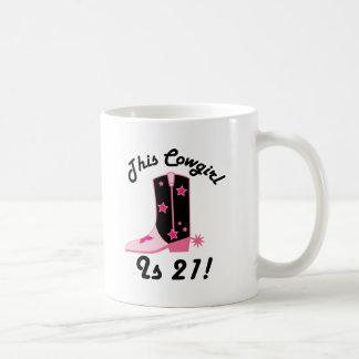 Cowgirlen är 21 födelsedag gåva kaffemugg