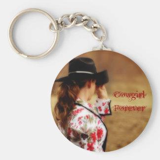 Cowgirlför evigt Keychain Rund Nyckelring