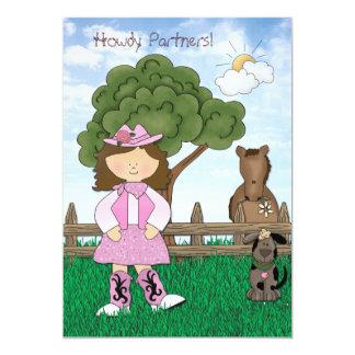 CowgirlPrincess födelsedagsfest inbjudan