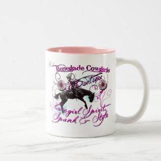 Cowgirls älskar vårt kaffe Två-Tonad mugg