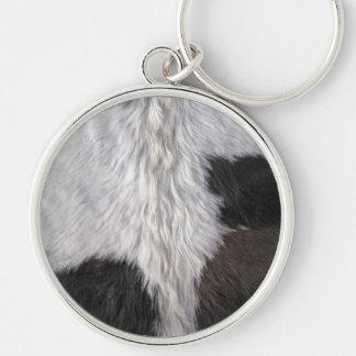 Cowhide Rund Silverfärgad Nyckelring