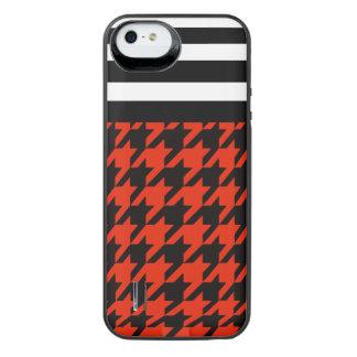 Crimson Houndstooth med randar 2 iPhone SE/5/5s Batteri Skal