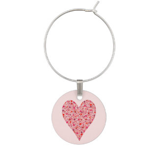 Crimson polka dots för hjärtaShape på rosor Berlock Vinglas