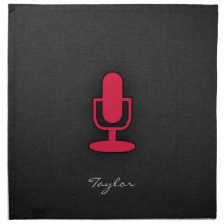 Crimson röd mikrofon tygservett