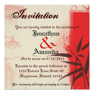 Crimson Red Vintage Grunge and Bamboo Invitation