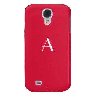 Crimson rött med vitmonogramen galaxy s4 fodral