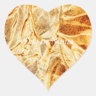 crinkletyger, guld- skymt hjärtklistermärken