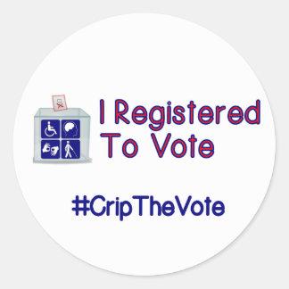 #CripTheVote REGISTRERADE JAG lilla klistermärkear Runt Klistermärke