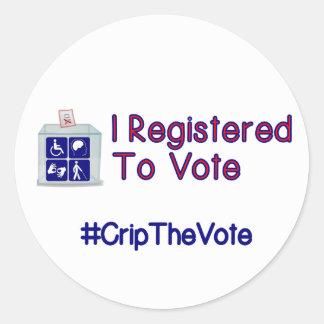 #CripTheVote REGISTRERADE JAG stora klistermärkear Runt Klistermärke