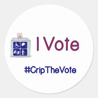 #CripTheVote RÖSTAR JAG lilla klistermärkear Runt Klistermärke