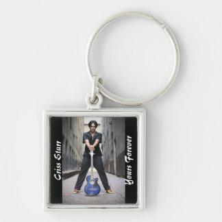 Criss Starr Keychain Fyrkantig Silverfärgad Nyckelring