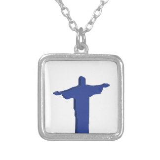 Cristo Redentor utstötning Silverpläterat Halsband
