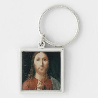 Cristo Salvator Mundi, 1465 Fyrkantig Silverfärgad Nyckelring