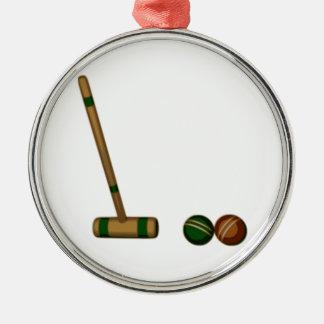 CroquetMallet och bollar Rund Silverfärgad Julgransprydnad