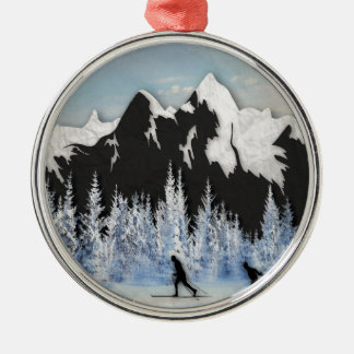 Cross country skidåkning julgransprydnad metall