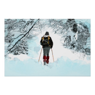 Crosst country till och med snöig skogen poster