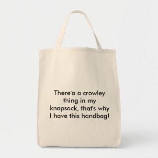 Crowley sak i min ryggsäck tygkasse