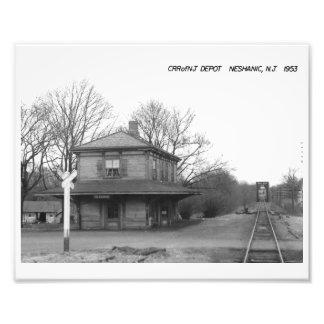 CRR av NJ-tågstationen, Neshanic, NJ-vintage Fototryck
