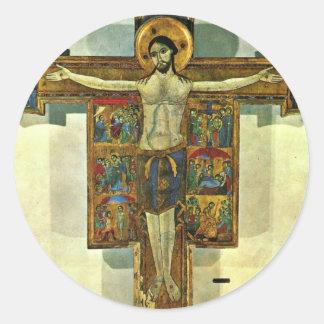 Crucifix med platser av passionen vid Lucchesisch Rund Klistermärke