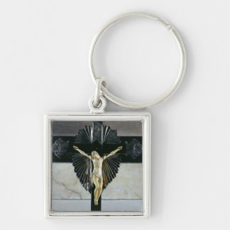 Crucifixion 17th århundrade (elfenben) fyrkantig silverfärgad nyckelring