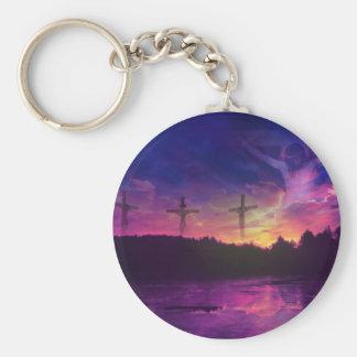 Crucifixionen av den Jesus Kristus Rund Nyckelring