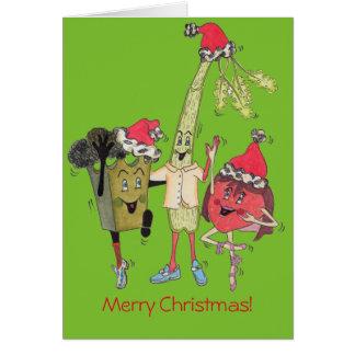 """Crunchy"""" julkort för grönt """" hälsningskort"""