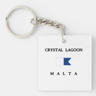 Crystal flagga för dyk för lagunMalta alfabetisk