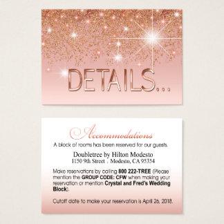 Crystal glitter cascade rose gold details visitkort
